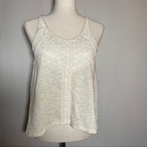 Hint of Mint Boho inspired High/Low cream tank top